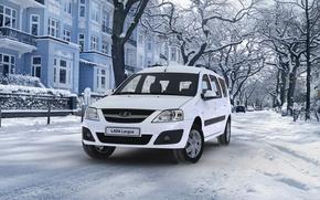 Picture winter, white, winter, universal, Lada Largus