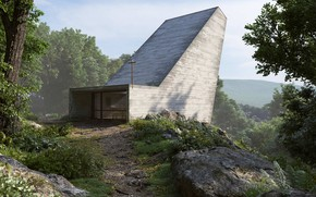 Wallpaper Chapel, house, mountains, Final Cam Caminho, forest, trail