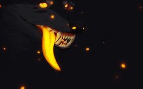 Picture fireflies, fear, darkness, wolf, mouth, fangs, werewolf, art, wolf, long tongue, burning eyes, evil eye, ...
