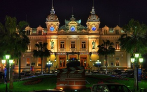 Picture city, lights, Monaco, trees, night, palm trees, architecture, building, Monte Carlo, old building, fountain, Casino, …
