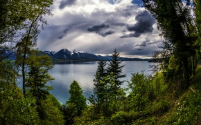 Picture clouds, trees, mountains, lake, Switzerland, Tun