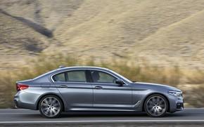 Picture road, asphalt, mountains, grey, BMW, profile, sedan, 540i, 5, M Sport, four-door, 2017, 5-series, G30