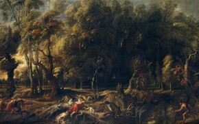Picture picture, hunting, Peter Paul Rubens, mythology, Pieter Paul Rubens, Atalanta and Meleager Hunting the Boar …
