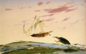 Picture ship, shark, sails, ARUSHA VOZMUS