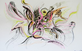 Picture butterfly, orange, yellow, pink, black, Figure, fairies, Lena Horn