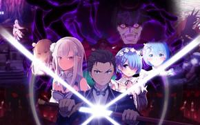 Picture girls, sword, anime, art, Subaru, Re: Zero kara hajime chip isek or Seikatsu, From scratch