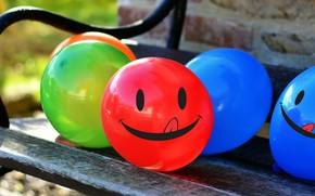Picture balls, bench, blue, red, smile, green, smiley, balloons
