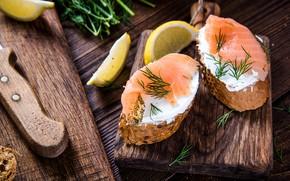 Picture lemon, fish, sandwiches