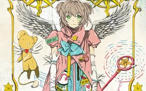 Picture the sun, stars, being, gloves, rod, sorceress, green eyes, icons, white wings, Cardcaptor Sakura, Sakura …