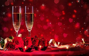 Picture love, flowers, red, roses, glasses, red, love, romantic, bokeh, Valentine's Day, Valentine's Day, romantic
