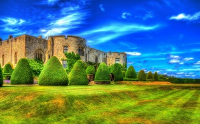 Picture design, clouds, HDR, greens, UK, castle, the bushes, Chirk Castle, blue sky, lawn, Wales