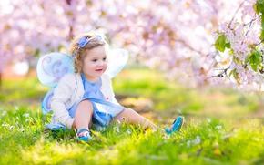 Picture grass, joy, mood, butterfly, spring, girl, Spring, Butterflies, Little girls