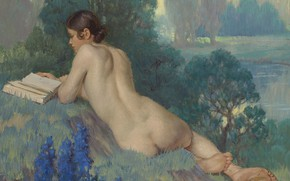 Picture erotic, ass, girl, nature, picture, book, Daniel Macmorris, Reading in the Nude