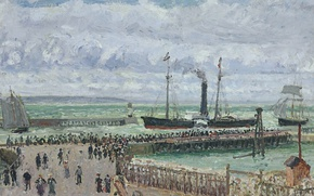 Picture landscape, ship, picture, steamer, sail, Camille Pissarro, The entrance to the Port of Le Havre. …