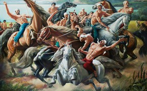 Picture Aibek Begalin, Two thousand twelve, Kokpar, mountain river, equestrian game