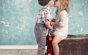 Picture boy, girl, suitcase, kiss, children, boy and girl