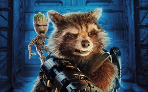 Picture weapons, fiction, raccoon, poster, Rocket, Groot, Guardians of the Galaxy Vol. 2, Guardians Of The …