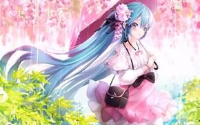 Picture girl, flowers, umbrella, anime, art, Vocaloid