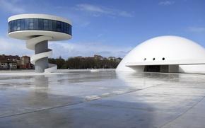Picture architecture, Spain, Aviles, Cultural centre Oscar Niemeyer