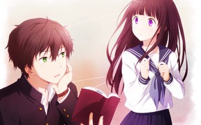 Picture girl, anime, guy, two