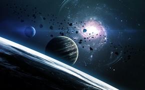 Picture Light, fantasy, star, eclipse, sun, planet, sci fi