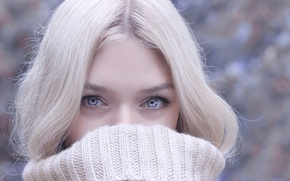 Picture look, face, portrait, blonde, blue eyes