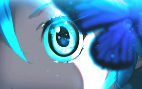 Picture girl, eyes, butterfly, art, by moxie2D