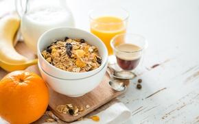 Picture coffee, orange, food, Breakfast, milk, juice, banana, fresh, muesli