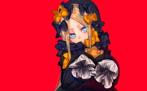 Picture anime, art, girl, red background, Fate Grand Order, The destiny of a great campaign, Abigail …