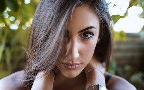 Picture look, close-up, face, model, portrait, makeup, hairstyle, brown hair, bokeh, Filippo Romani