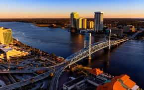 Picture bridge, river, USA, architecture, Jacksonville, Duval