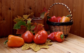 Picture leaves, table, basket, pepper, still life, vegetables, tomatoes, maple