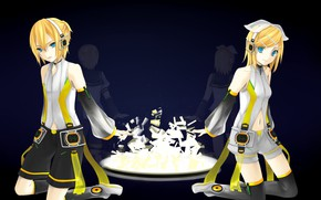 Picture girl, guy, two, Vocaloid, Vocaloid, Kagamine Len, Kagamine Rin