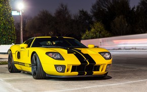 Picture Ford, Black, Yellow, GT, Bands