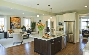 Picture design, furniture, interior, kitchen, living room