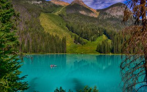 Picture greens, forest, the sun, trees, mountains, lake, rocks, boat, Canada, Emerald Lake