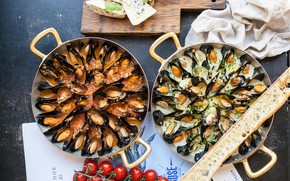 Picture food, cheese, tomato, dish, seafood, mussels, baton