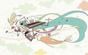 Picture girl, hair, anime, white background, Hatsune Miku, Vocaloid, Vocaloid, Hatsune Miku