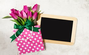 Picture flowers, bouquet, package, tulips, pink, fresh, wood, pink, flowers, beautiful, tulips, spring, purple