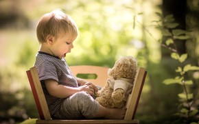 Picture nature, toy, child, boy, bear