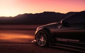 Picture black, desert, the evening, Mercedes, car