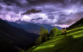 Picture the sky, light, mountains, house