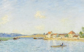 Wallpaper picture, boat, home, Saint-Mames, Alfred Sisley, Alfred Sisley, river, landscape