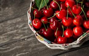 Picture berries, basket, fresh, cherry, fruit, ripe, cherry