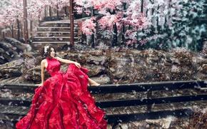 Picture girl, mood, photoshop, petals, Sakura, Asian, red dress
