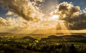Picture the sky, clouds, rays, sunset, nature