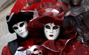 Picture pair, Venice, outfit, carnival, mask, costumes