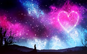 Wallpaper by kvacm, nature, heart, girl, silhouette, night, the sky, stars