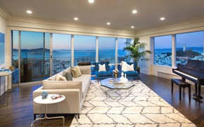 Picture design, style, sofa, Windows, piano, living room