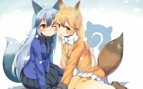 Picture girls, anime, art, together, Kemono Friends